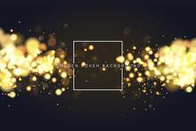 Abstract Defocused Circular Golden Bokeh Sparkle Glitter Lights Background. Magic Christmas Background. Elegant, Shiny, Metallic Gold Background. EPS 10.