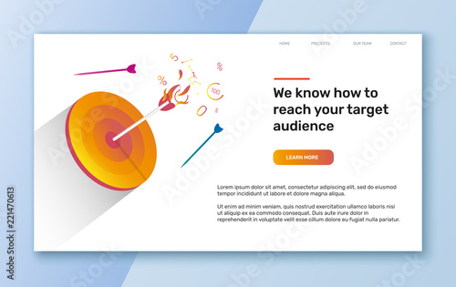 Photo  Vector target audience illustration and template for web banner or landing page