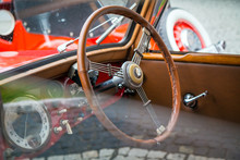 Interior View Of Classic Vintage Car. Beautiful Retro Car Poster, Postcard.