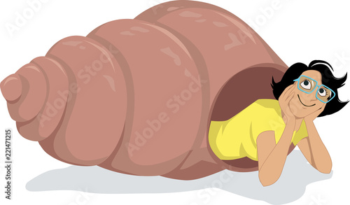 Introvert woman in glasses peaking out of a hermit crab shell, EPS 8 vector illu Fototapete