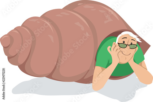 Fotografía Introvert man in glasses peaking out of a hermit crab shell, EPS 8 vector illust
