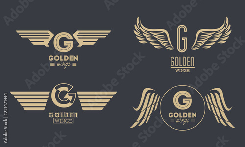 Leinwand Poster Set of golden wings emblems