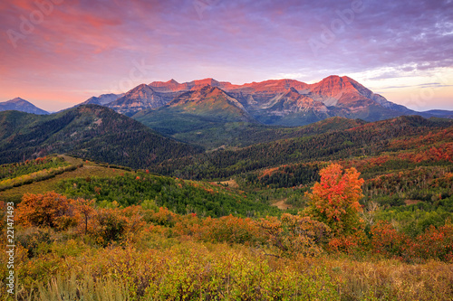 Autocollant pour porte Brique Autumn morning in the Wasatch Back, Utah, USA.