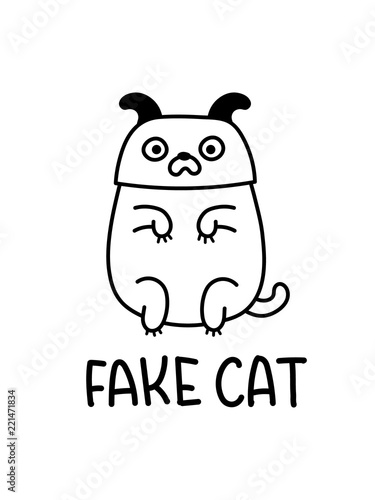Fotografie, Obraz  A Fake Cat Wearing A Dog Mask Cartoon Drawing