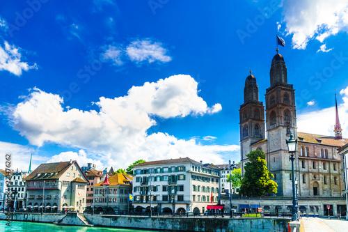 Foto op Aluminium Santorini Aerial view of historic Zurich city center and river Limmat