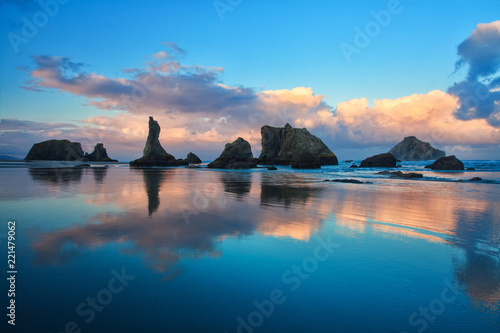 Poster Bleu nuit Bandon Beach Oregon Sunrise