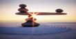 Steine in Balance - Gleichgewicht bei Sonnenaufgang