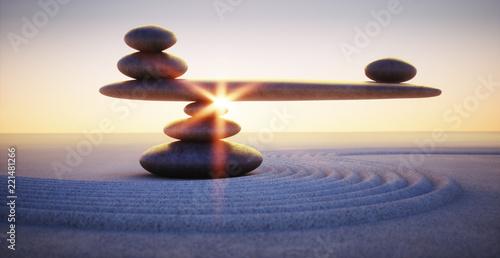 Acrylic Prints Stones in Sand Steine in Balance - Gleichgewicht bei Sonnenaufgang