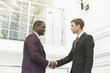two young businessmen shake hands