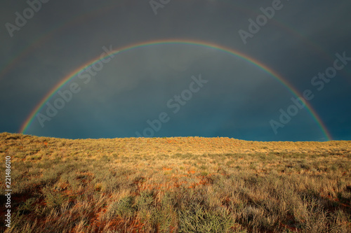 Fototapeta Landscape with a colorful rainbow in stormy sky, Kalahari desert, South Africa. obraz na płótnie