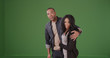 Black couple spots something beautiful while they are walking on green screen
