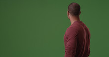 African American Looking Away From Camera On Green Screen