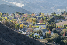 Suburban Southern California Hillside Neighborhood.  Simi Valley Route 118 Freeway In Background.