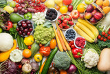 Fototapeta Fototapety do kuchni - Healthy fruits vegetables berries background, cherries peaches strawberries cabbage broccoli cauliflower squash tomatoes carrots bananas beans beetroot, pepper, top view, selective focus