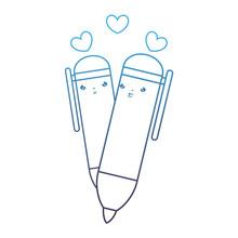 Degraded Line Kawaii Nice Highlighter Couple With Hearts