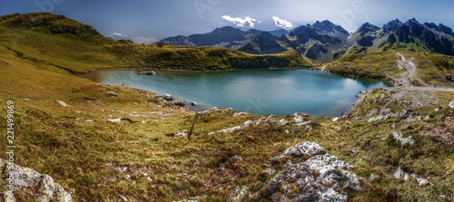Aluminium Prints New Zealand Alpine lake on the Pizol, above the Swiss Rhine valley