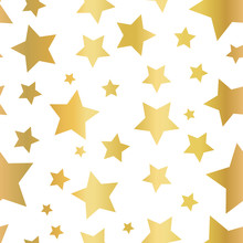 Gold Foil Star Shapes Seamless Vector Pattern. Golden Stars On White Background. Gold Night Sky. Elegant And Fancy Design For Web Banner, Digital Paper, Gift Wrap, Card, Birthday, Wedding, Kids, Party