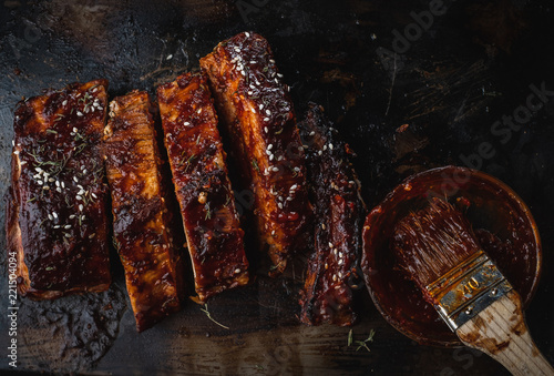 Close up of Smoked Roasted pork ribs.