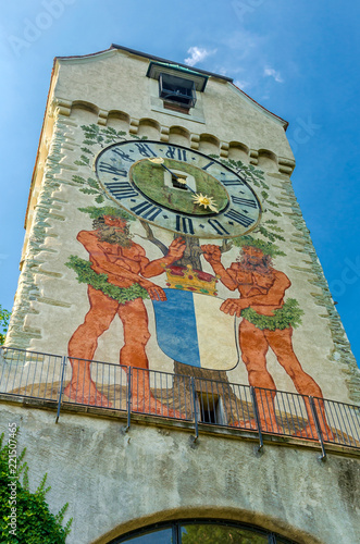 Zytturm mit Turmuhr an der Museggmaur von Luzern am Vierwaldstättersee, Schweiz Fototapete