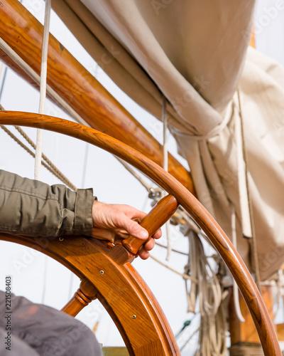 sailing ship details with wodden wheel   © Agota Kadar