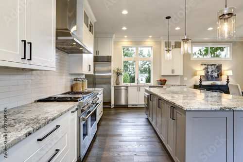 Beautiful Modern Kitchen In Luxury Home Interior With Island And