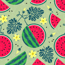 Ripe Watermelon Seamless Pattern. Black Currant With Leaves And Flowers On Shabby Background. Original Simple Flat Illustration. Shabby Style.