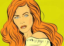Pop Art Portrait Jeune Femme Glamour Cheveux Roux,visage,action,romantique