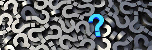 Fototapeta Blue question mark on a background of black signs. 3D Rendering. obraz