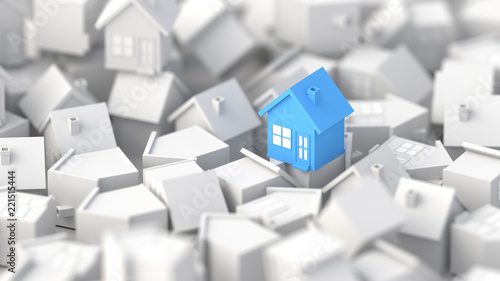 Photo sur Toile Chasse Blue house among white houses. Hunting and searching concept. 3D Rendering