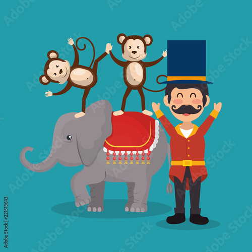 monkeys and elephant circus show Wallpaper Mural