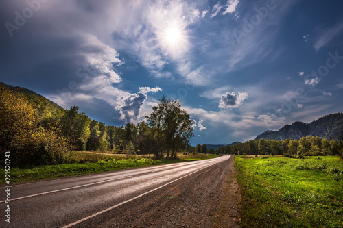 Spoed Foto op Canvas Chocoladebruin Motor road. The Altai Mountains, Southern Siberia