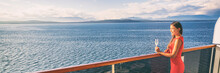 Luxury Travel Woman Drinking Wine On Cruise Ship At Sunset. Asian Girl Relaxing Enjoying Alaska Scenery Landscape. Panoramic Banner.