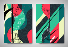 Cover/ Invitation Card Template Design, Curved And Diagonal Ripped Torn Paper With Abstract Hand Drawn Art Elements, Retro Red And Green Tones