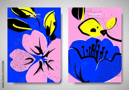 Obraz na płótnie Cover/ invitation card template design, ripped torn paper sakura and camellia fl