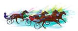 Jockey i horse.Sulky racing - 221525211