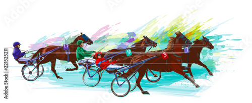 Deurstickers Art Studio Jockey and horse.Sulky racing