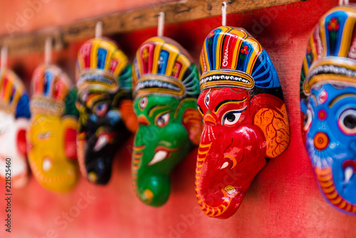 Traditional masks in Bhatktapur city, Nepal.