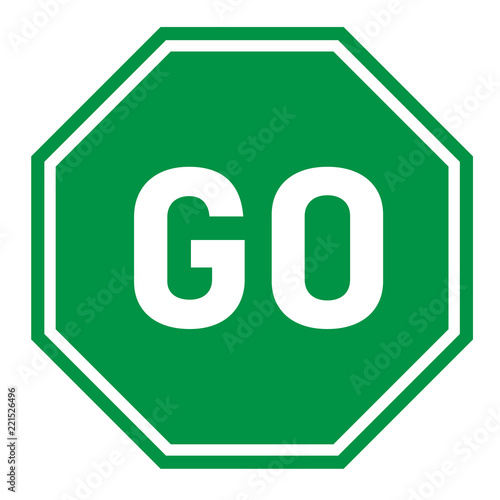 go sign on white background. flat style. green go sign for your web site design, logo, app, UI. go traffic symbol. hexagonal green go sign. Fototapete