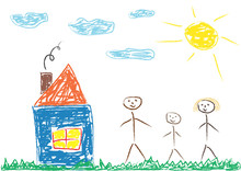 Сhildren's Drawing Of Family (mother, Father And Child) And House, Vector