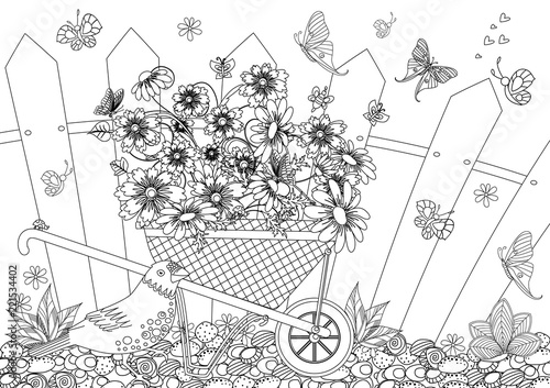 Carta da parati rustic landscape with pretty flowers in garden wheelbarrow for y