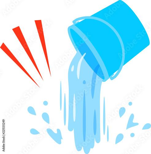 Photo  ひっくり返したバケツとこぼれる水