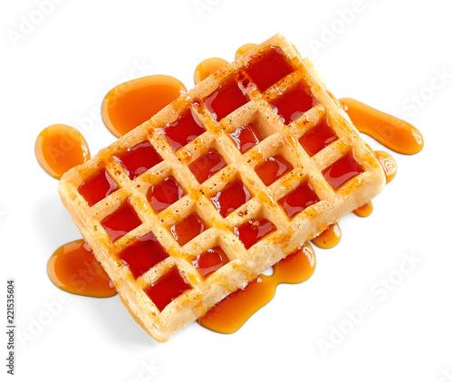 waffle with caramel sauce