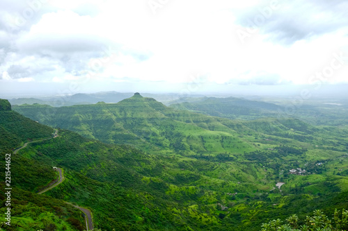 Foto op Canvas Wit Beautiful landscape aerial, and closeup Photos of nature, roads, grass, trees, village, and farm land. Lush green monsoon nature mountains, hills, Purandar fort, Pune, Maharashtra, India