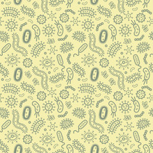Germs / Bacteria - Vector Illustration - Yellow Germs In A Repeat Pattern