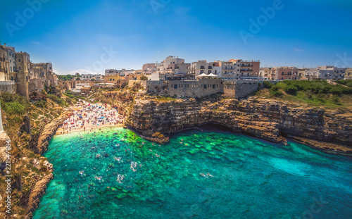 colorful south italy village in Puglia in the town of Polignano