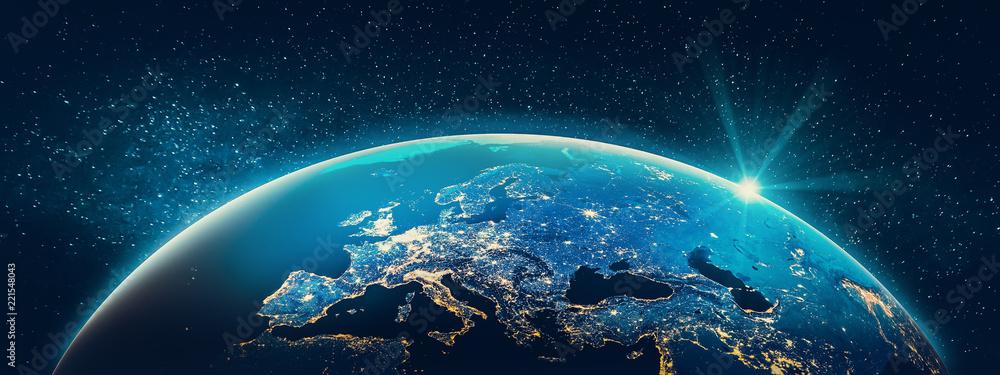 Fototapeta Planet Earth - Europe city lights