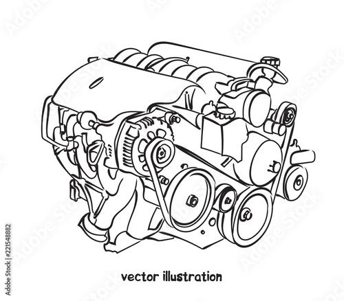 Tableau sur Toile Vector sketch of car engine