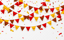 Thanksgiving Day, Flags Garland On Transparent Background. Garlands Of Red Brown Yellow Flags And Foil Confetti. Vector Illustration