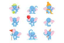 Cute Elephant Character Set, F...