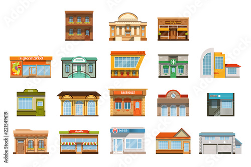 Fotografie, Obraz  Store shop front window buildings icon set flat isolated